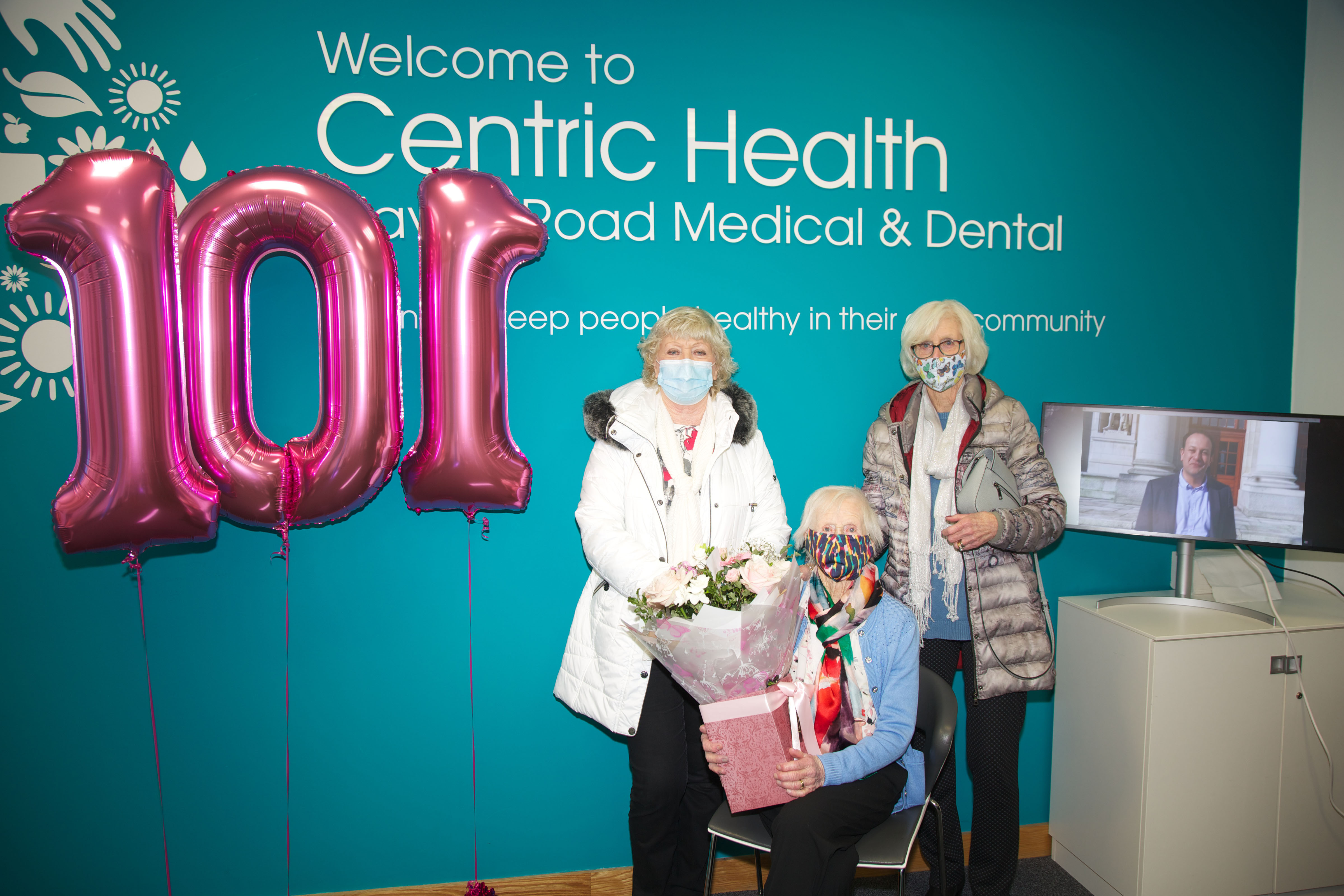 Centenarian Mary Kelly, celebrating her 101st birthday today, at Navan Road Medical had a surprise Birthday address from Tanaiste Leo Varadkar while receiving her first Covid 19 vaccine (1)